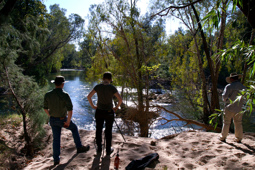 Gavin, Jess &amp; Charles at the McArthur River,  Phoebe Barton / MPI 2011