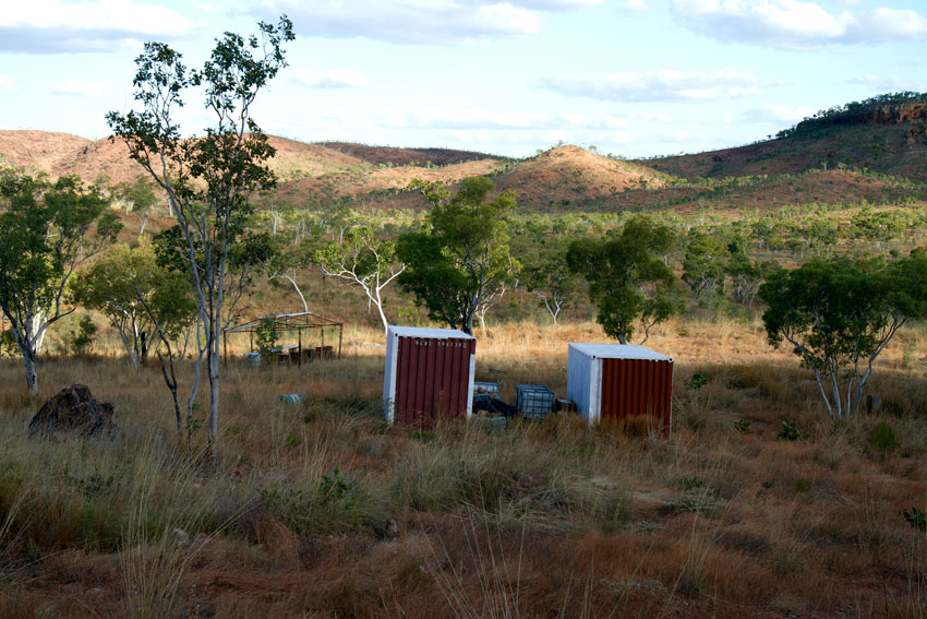 Radioactive materials stored in shipping containers at Eva, a former uranium mine in the Northern Territory, © Phoebe Barton / MPI 2011
